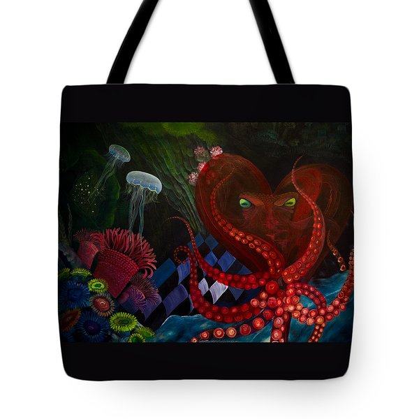 Octopus Heart Tote Bag by Adria Trail