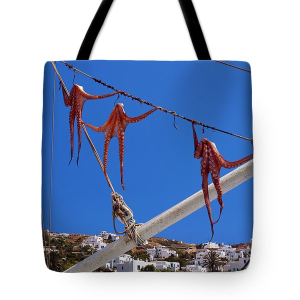 Octopus Trio Hanging In Mykonos Greece Tote Bag