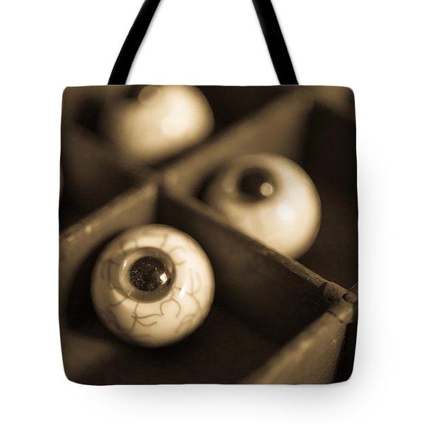 Oddities Fake Eyeballs Tote Bag by Edward Fielding