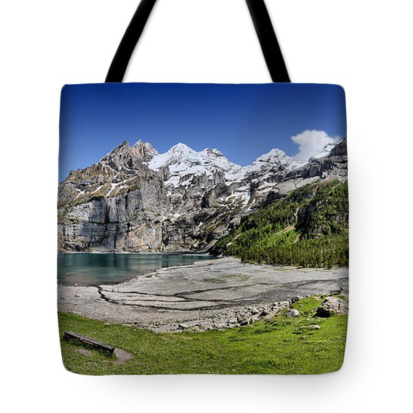 Tote Bag featuring the photograph Oeschinen Lake by Carsten Reisinger