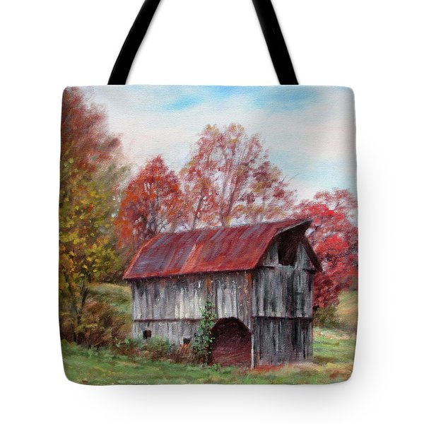 Off The Beaten Track-old Barn With Red Roof Tote Bag