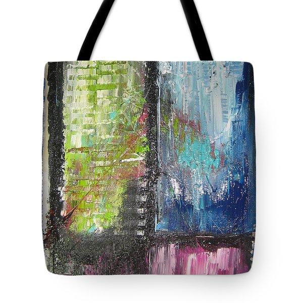 Tote Bag featuring the painting Office Window by Lucy Matta