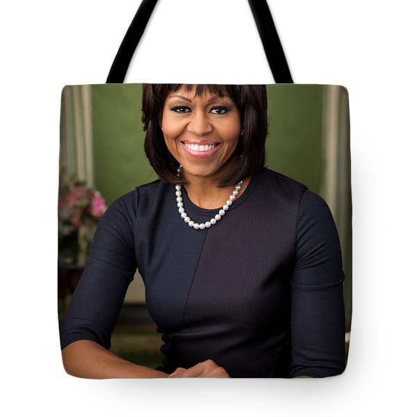 Tote Bag featuring the photograph Official Portrait Of First Lady Michelle Obama by Celestial Images
