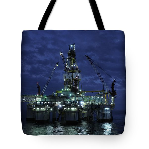 Offshore Oil Rig At Night Tote Bag
