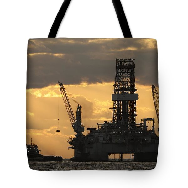 Offshore Rig At Dawn Tote Bag
