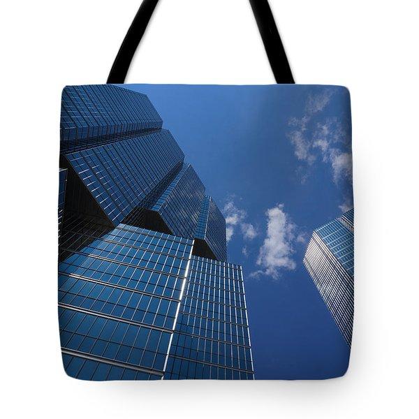 Oh So Blue - Downtown Toronto Skyscrapers Tote Bag by Georgia Mizuleva