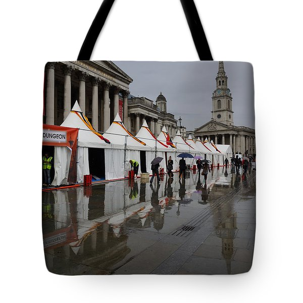 Oh So London - Rain Puddles And Reflections Tote Bag by Georgia Mizuleva