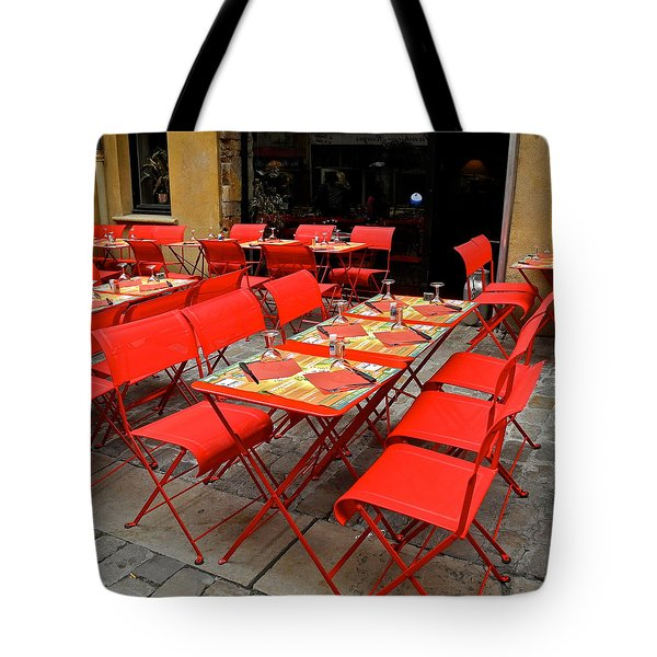 Tote Bag featuring the photograph Oh Those French Cafes by Kirsten Giving