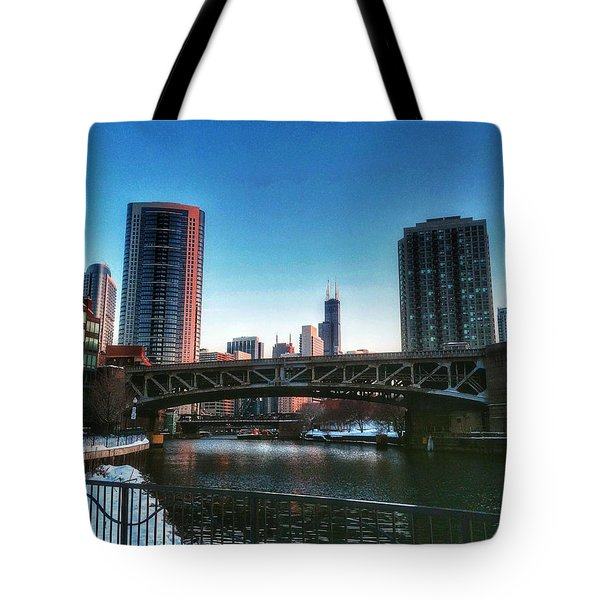 Ohio Street Bridge Over Chicago River Tote Bag