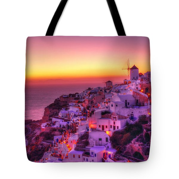 Oia Sunset Tote Bag by Midori Chan