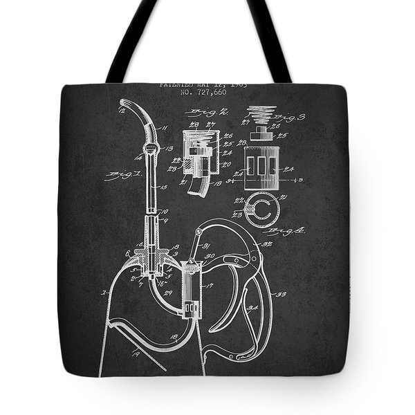 Oil Can Patent From 1903 - Dark Tote Bag by Aged Pixel