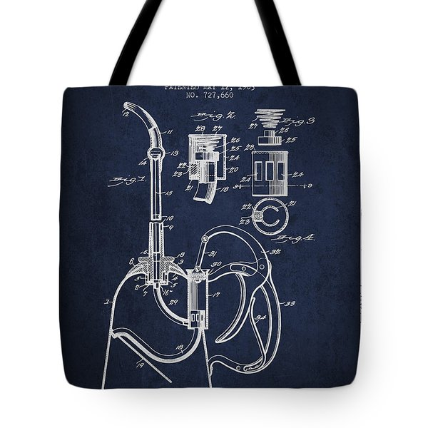 Oil Can Patent From 1903 - Navy Blue Tote Bag by Aged Pixel