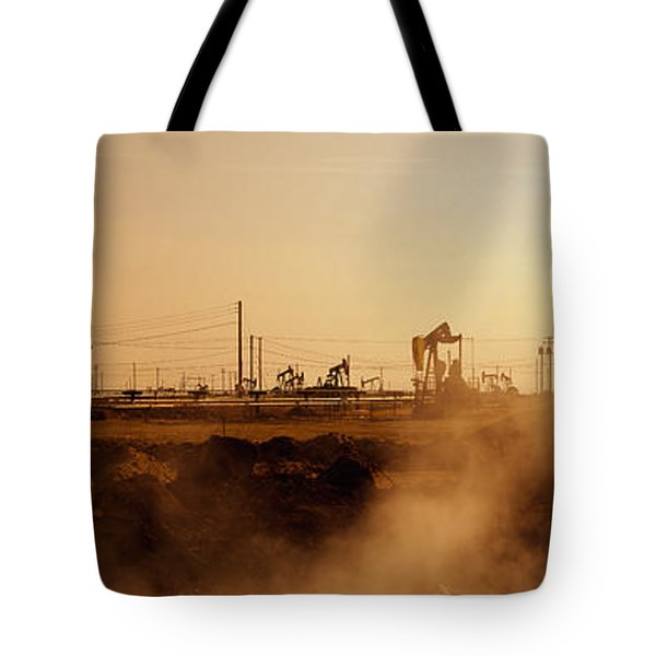 Oil Drills In A Field, Maricopa, Kern Tote Bag