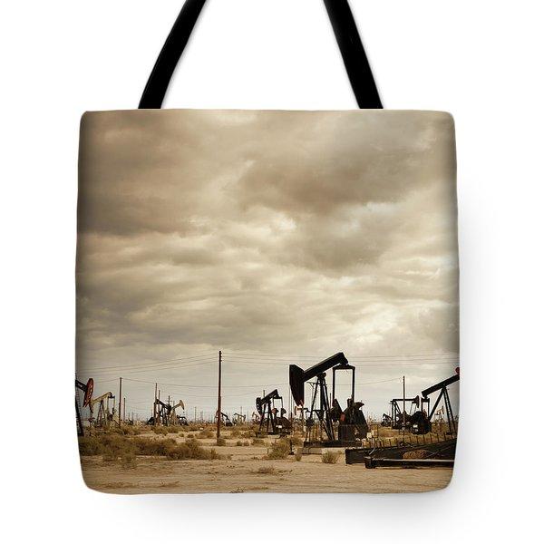Oil Field In Desert Tote Bag