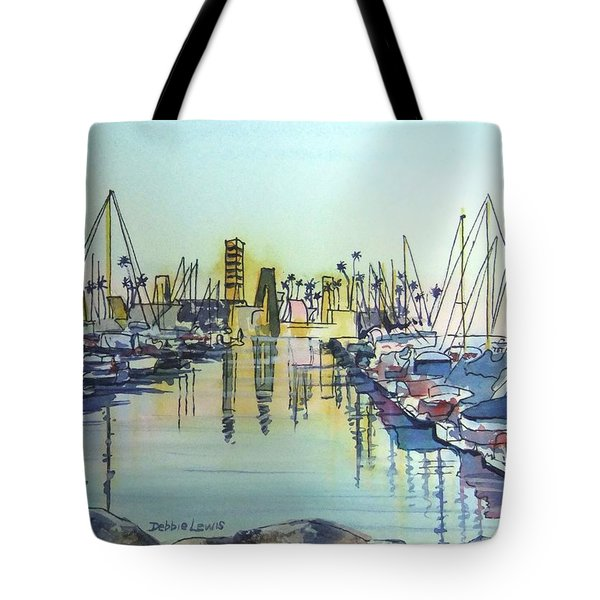 Tote Bag featuring the painting Oil Island At Rainbow Harbor Long Beach Ca by Debbie Lewis