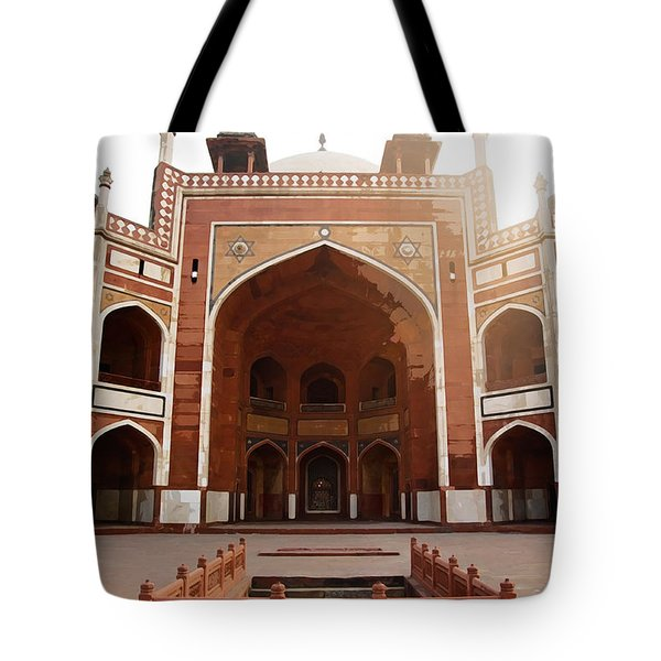 Oil Painting - Cross Section Of Humayun Tomb Tote Bag