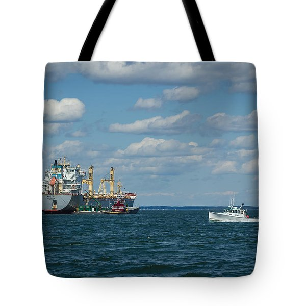 Tote Bag featuring the photograph Oil Tanker And Lobster Boat by Jane Luxton