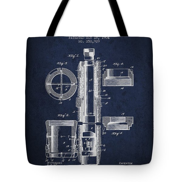 Oil Well Packer Patent From 1904 - Navy Blue Tote Bag