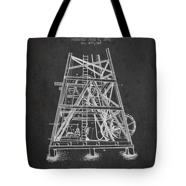 Oil Well Rig Patent From 1893 - Dark Tote Bag by Aged Pixel