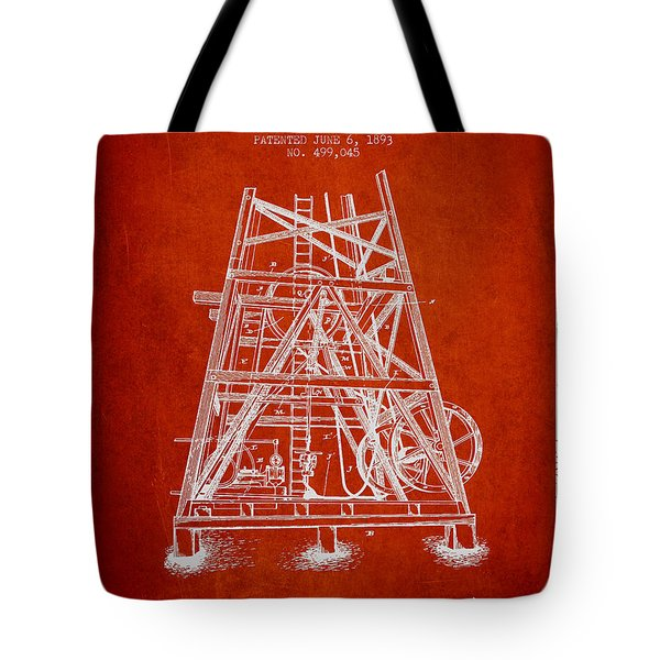 Oil Well Rig Patent From 1893 - Red Tote Bag by Aged Pixel