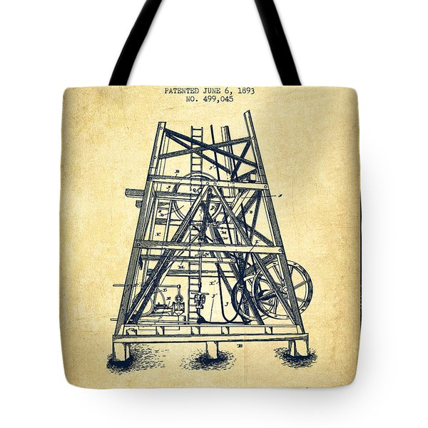 Oil Well Rig Patent From 1893 - Vintage Tote Bag by Aged Pixel