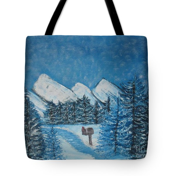 Oils On Canvas Blue Winter Tote Bag by Margaret Newcomb