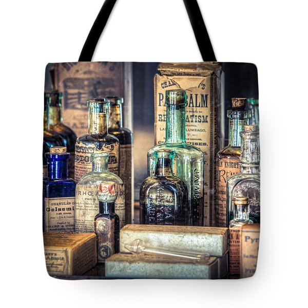 Ointments Tonics And Potions - A 19th Century Apothecary Tote Bag by Gary Heller