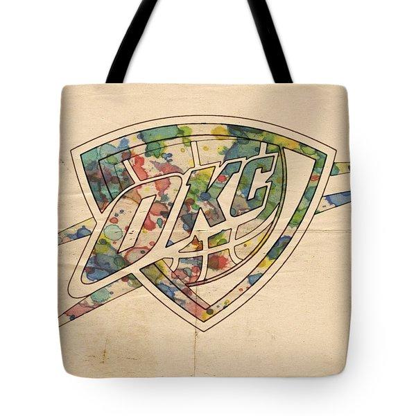 Okc Thunder Logo Art Tote Bag by Florian Rodarte