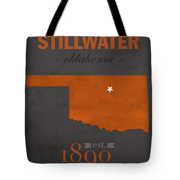 Oklahoma State University Cowboys Stillwater College Town State Map Poster Series No 084 Tote Bag