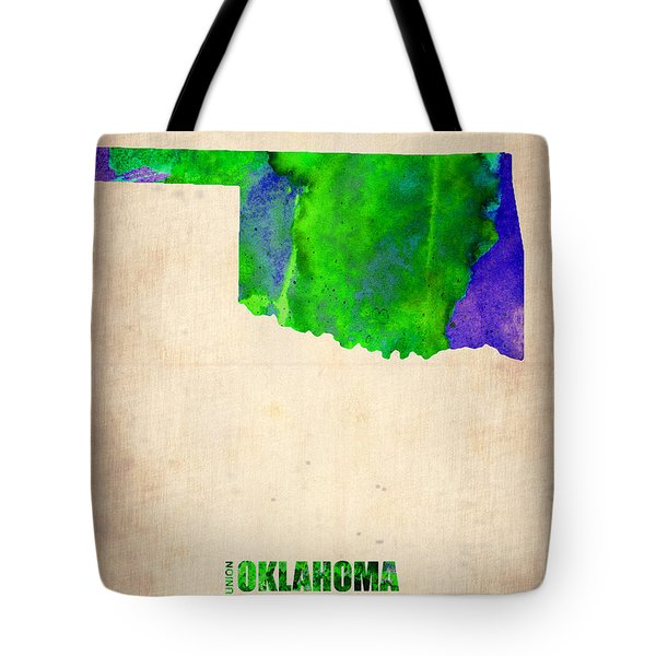 Oklahoma Watercolor Map Tote Bag by Naxart Studio