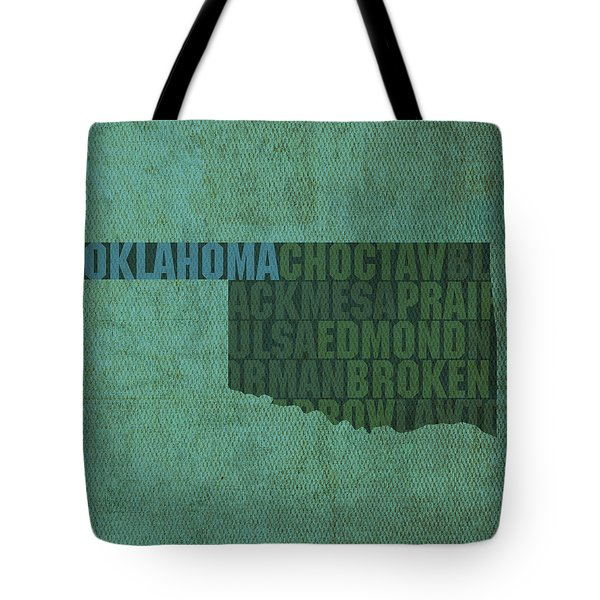 Oklahoma Word Art State Map On Canvas Tote Bag by Design Turnpike