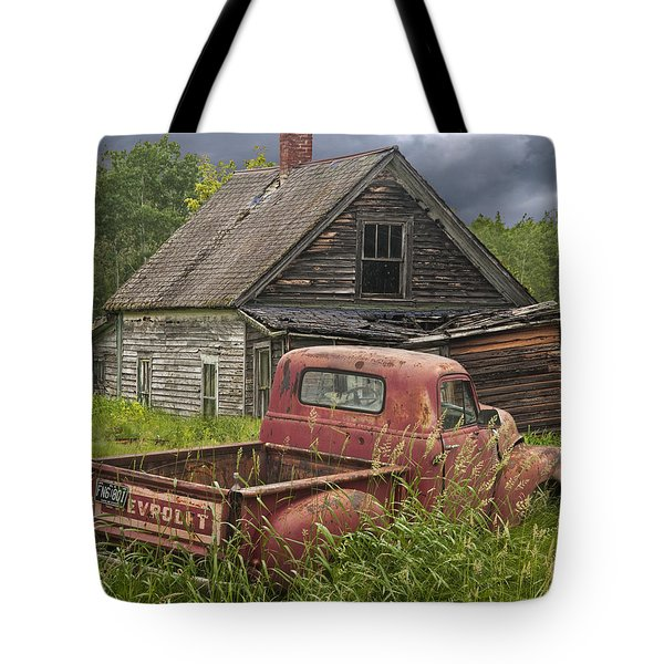Old Abandoned Homestead And Truck Tote Bag