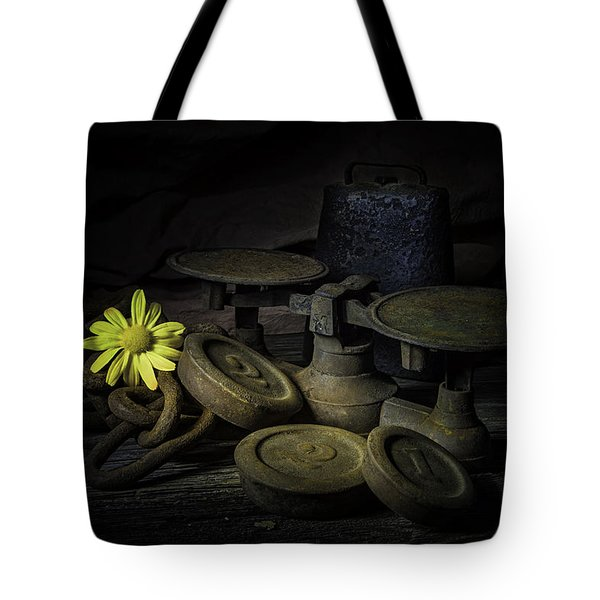 Old And Rusted Still Life Tote Bag by Tom Mc Nemar