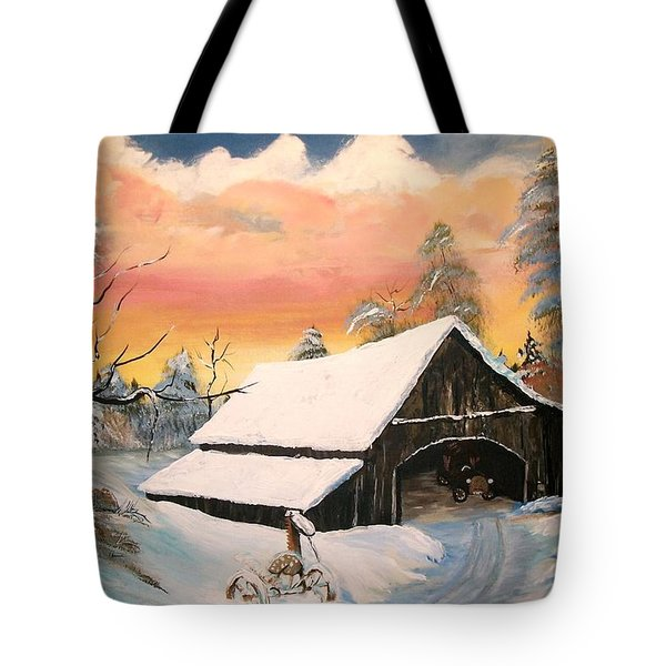 Tote Bag featuring the painting Old Barn Guardian by Sharon Duguay