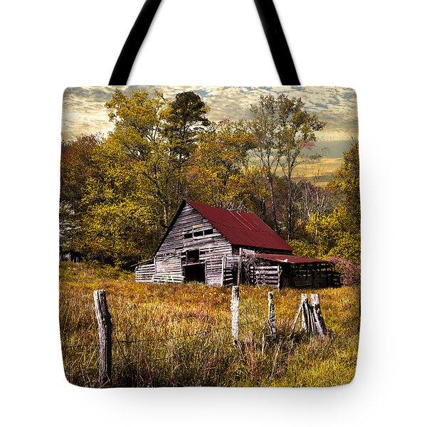 Old Barn In Autumn Tote Bag by Debra and Dave Vanderlaan
