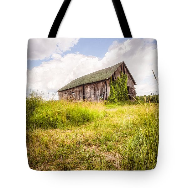 Tote Bag featuring the photograph Old Barn In Ontario County - New York State by Gary Heller