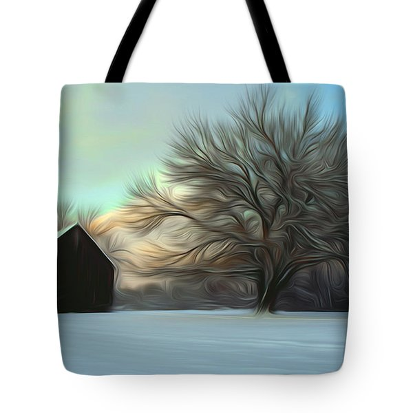 Old Barn In Snow Tote Bag