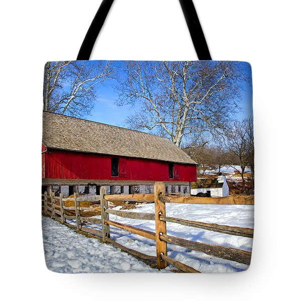 Old Barn In Winter Tote Bag