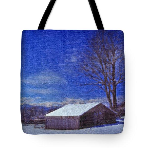 Old Barn In Winter Tote Bag