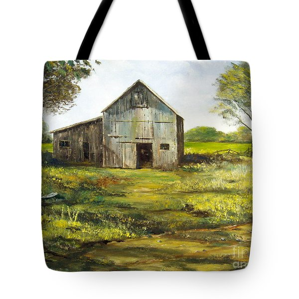 Tote Bag featuring the painting Old Barn by Lee Piper
