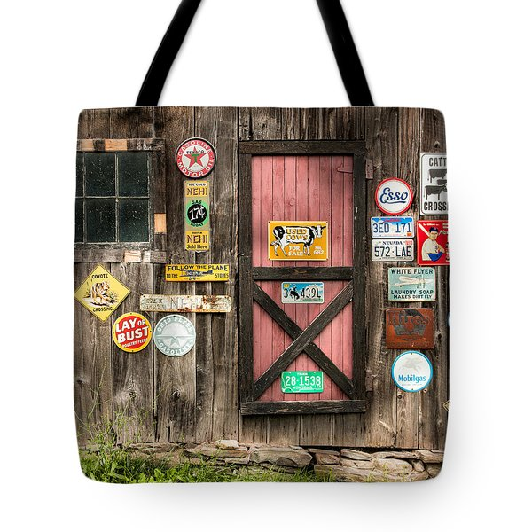 Old Barn Signs - Door And Window - Shadow Play Tote Bag by Gary Heller