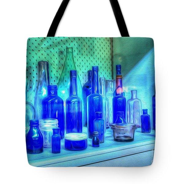 Old Blue Bottles Tote Bag by Kaye Menner