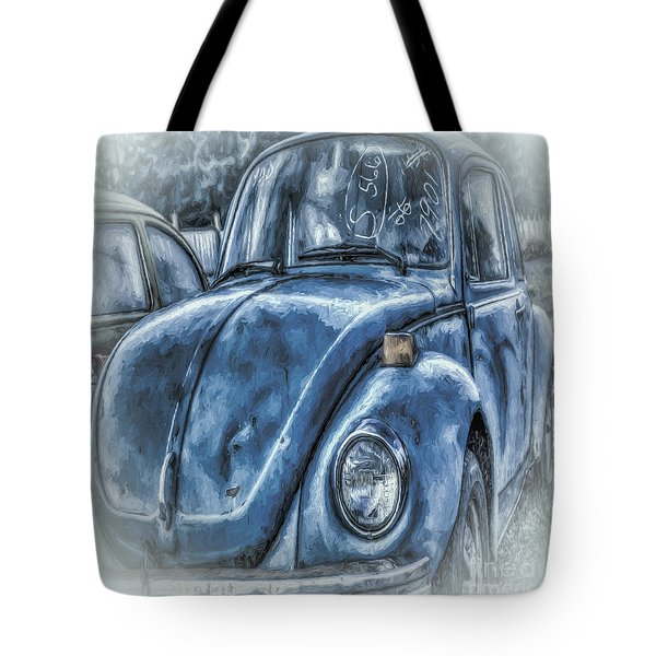 Tote Bag featuring the photograph Old Blue Bug by Jean OKeeffe Macro Abundance Art
