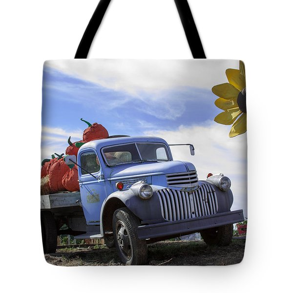 Tote Bag featuring the photograph Old Blue Farm Truck  by Patrice Zinck