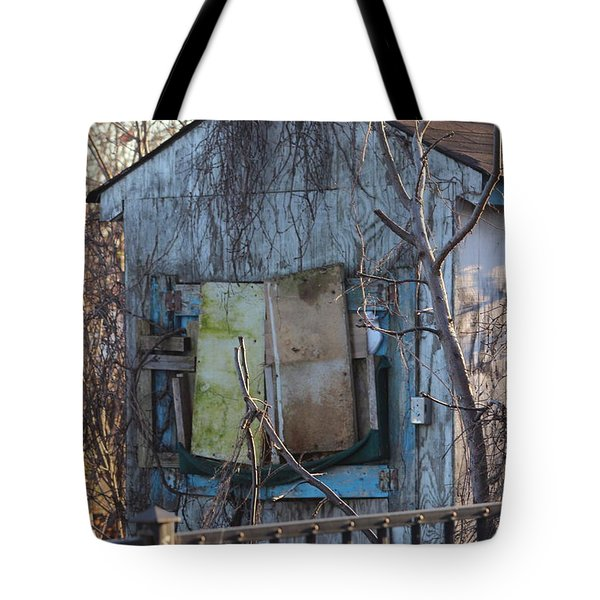 Old Blue Shack Tote Bag by Tom Gari Gallery-Three-Photography