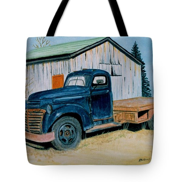 Tote Bag featuring the painting Old Blue by Stacy C Bottoms