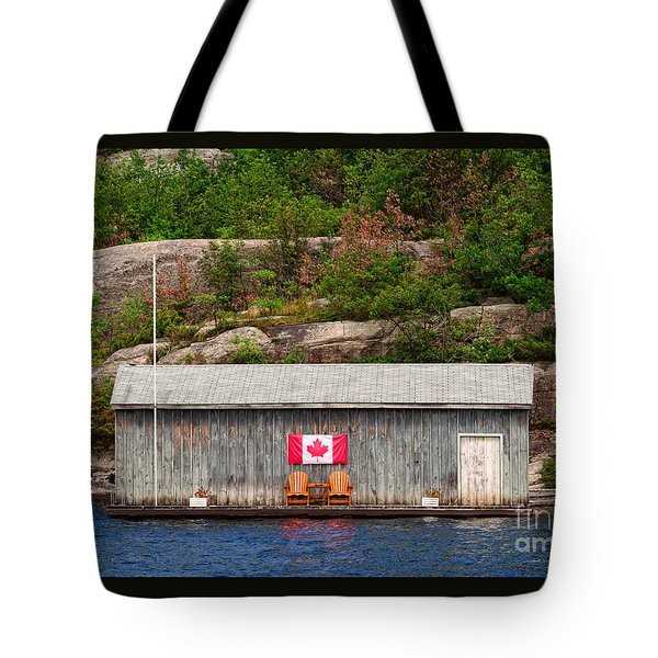 Old Boathouse With Two Muskoka Chairs Tote Bag