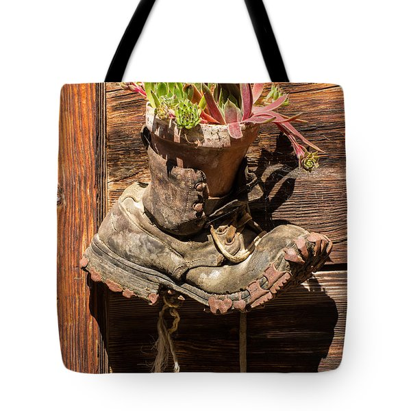 Old Boot Potted Plant - Swiss Alps Tote Bag