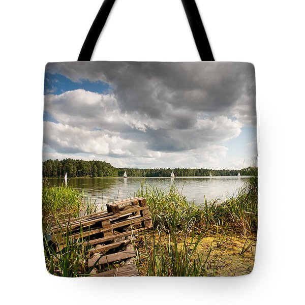 Old Bridge And Boats At The Lake Tote Bag by Arletta Cwalina