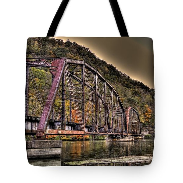 Tote Bag featuring the photograph Old Bridge Over Lake by Jonny D